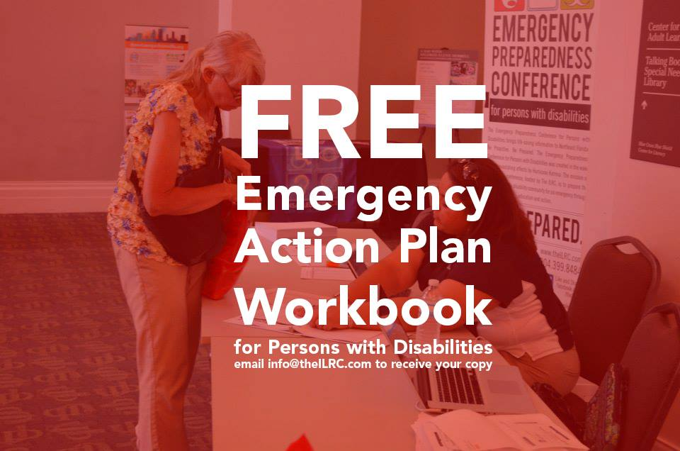 "A customer being helped by a person at the front desk in the background, all colored over in red. The words ""Free Emergency Action Plan Workbook for persons with disabilities"" on the front."
